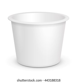 White Open Cup Tub Food Plastic Container For Dessert, Yogurt, Ice Cream, Sour cream Or Snack. Illustration Isolated On White Background. Mock Up Template Ready For Your Design. Vector EPS10