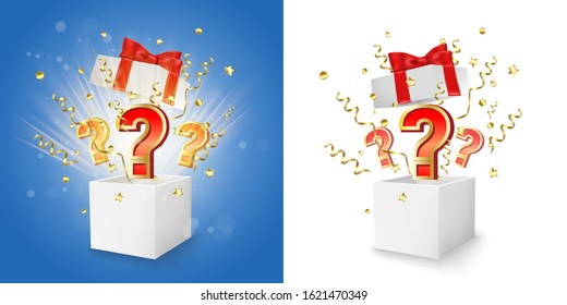 White open gift boxes with question marks, gold serpentine and confetti explosion, vector isolated illustration. Win gift, surprise question box concept for promo banner, poster etc.