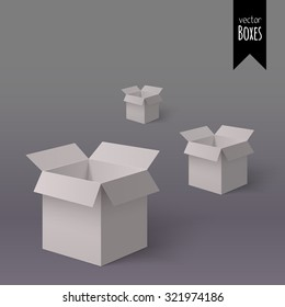 White open isometric colorful boxes for your design isolated on the light background. Open isometric gift boxes. Delivery isometric box. Set of gift isometric boxes. Parcel isometric box. Package box.