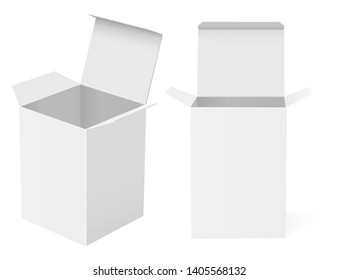 White open paper boxes. Vector illustration isolated on white background