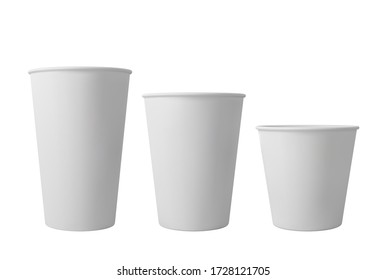 White open paper coffee cups. Realistic vector mockup
