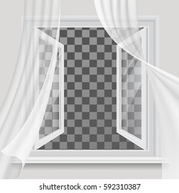 White open window and transparent curtain waving in the wind. The empty space inside.