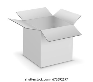 White Opened Cardboard Box Vector Illustration Isolated on White Background