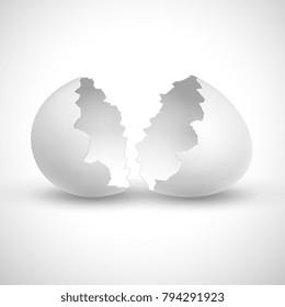 White opened easter with shell broken isolated vector illustration. Shell broken egg, eggshell fragile empty