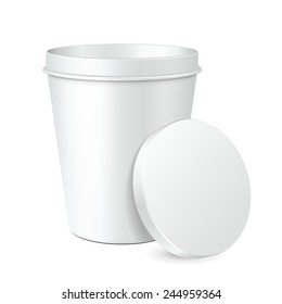 White Opened Mock Up Food Plastic Tub Bucket Container For Dessert, Yogurt, Ice Cream, Sour Cream Or Snack. Ready For Your Design. Product Packing Vector EPS10