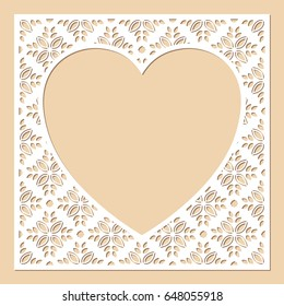 White openwork frame with heart inside. Laser cutting template for greeting cards, envelopes, wedding invitations, menus, interior decorative elements.