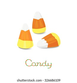 White, orange, yellow candy corn on the stick isolated on white background
