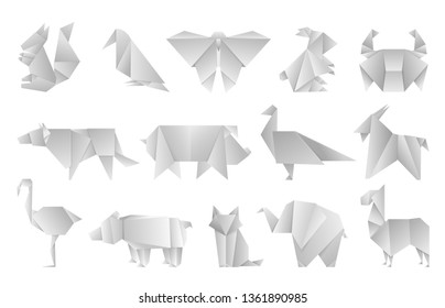 White origami animals. Geometric folded paper shapes, abstract bird dragon butterfly polygon templates. Vector japan origami design zoo asia illustration