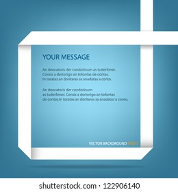 white origami paper speech message vector background on blue background eps10 for design