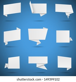 White Origami Speech Bubbles - Set of 9 white paper origami speech bubbles, isolated on blue background.  Eps10 file with transparency.