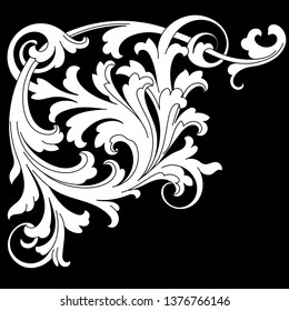 White ornament on a black background in baroque style. Retro rococo decoration element with flourishes calligraphic. You can use for wedding decoration of greeting card and laser cutting.
