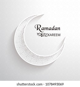 White ornamental moon with shadow and the dark inscription Ramadan Kareem on a light background with arabic pattern. Outline decor. Islamic background. Greeting card, advertising, discount, poster.