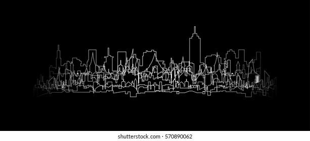 White outline cityscape silhouette vector illustration