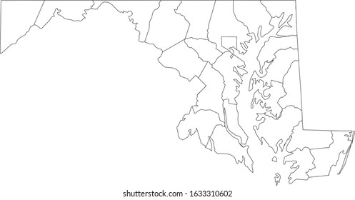 White Outline Counties Map of US State of Maryland