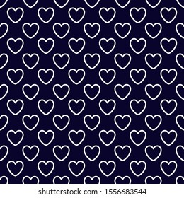 White outline heart pattern vector navy blue background.