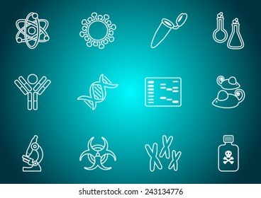 White outline molecular biology science icon collection