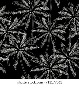 White  outline palm trees on the black background. Vector seamless pattern. Tropical illustration. Jungle foliage.