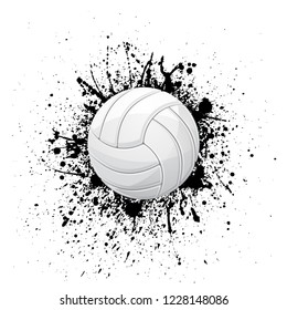 White outline volleyball symbol with ink blots isolated on white background