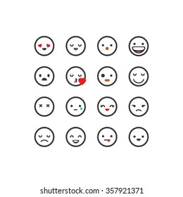 White outlined emoticon set