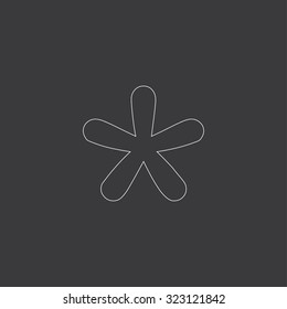 A White Outlined Icon on Grey Background - Blobbed Star