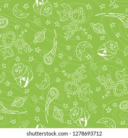 White outlines with green background. Cute owl, flowers, crescent moon, planet, comet and shooting stars elements. Quiet good night and space theme. Suitable for pajamas or wrapping paper.
