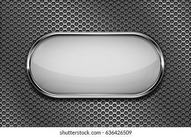 White oval button with chrome frame on metal perforated background. Vector 3d illustration