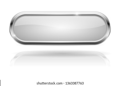 White oval button. Glass icon with chrome frame. Vector 3d illustration