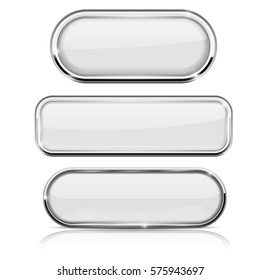 White oval buttons. With chrome frame. Vector 3d illustration isolated on white background