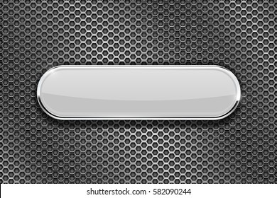White oval glass plate on perforated background. Vector 3d illustration.