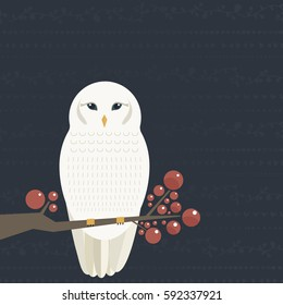 White owl sitting on the bench. Bird vector illustration.