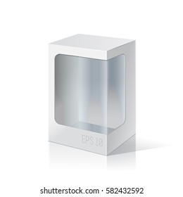 White package box with a transparent plastic window. Product Packing Vector.