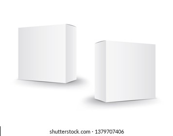 White package box vector, package design, 3d box, product design, realistic packaging for cosmetic or medical, paper boxes.