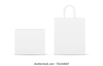 White package, rectangular box and bag with handles - front view. Blank isolated packaging mockups for design or branding. Vector illustration