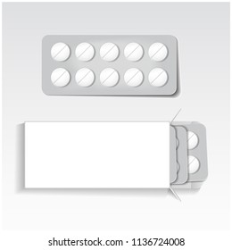 White package with tablets, blisters pack medicines mock up vector template. Painkillers, antibiotics, vitamins, aspirin tablets for your design