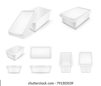 White packaging with lid for food. Big set.