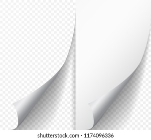 White page curl corner on blank sheet of paper. Turn paper sticker with flip edge isolated on transparent background. Vector web banner for your design.
