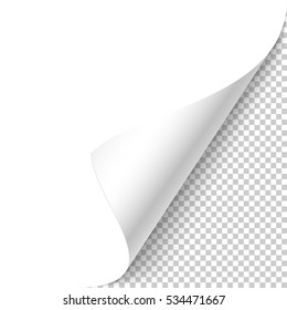 White page curled corner with shadow on transparent background realistic vector illustration