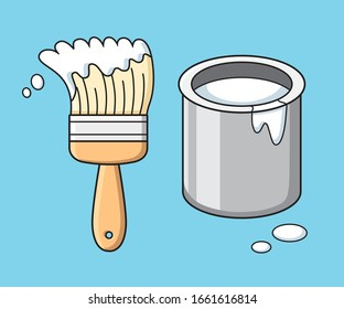 White paint brush and can bucket isolated cartoon vector