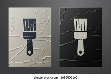 White Paint brush icon isolated on crumpled paper background. Paper art style. Vector Illustration