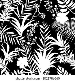 White  palm trees and tropical forest on the black background. Vector seamless pattern. Tropical illustration. Jungle foliage.
