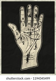 White palmistry hand on a black crumpled paper texture background with frame