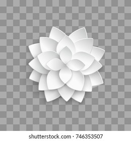 White paper 3d lotus isolated on transparent background. Vector lotus decoration origami, illustration of handmade floral