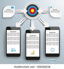 White paper arrows with gears, target, arrows and smartphones on the gray background. Eps 10 vector file.