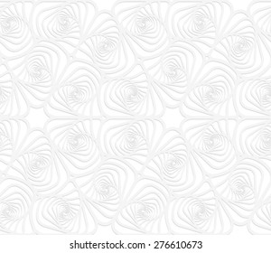 White paper background. Seamless patter with cut out paper effect. Realistic shadow creates 3D modern texture.Paper white twisted striped sea shells.