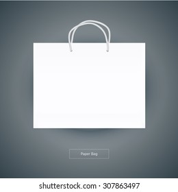 white paper bag template vector