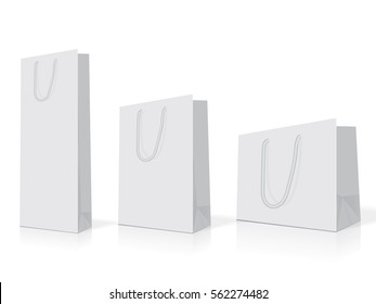white paper bags of different sizes easy to change colors mock up vector template