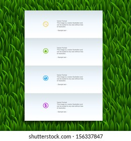 White paper banner on green grass background - Vector illustration