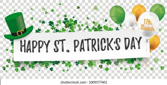 White paper banner for St Patricks Day on the checked background. Eps 10 vector file.