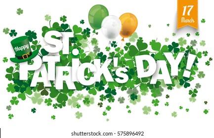 White paper banner for St Patricks Day. Eps 10 vector file.