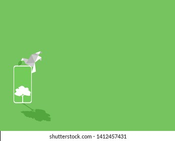 White paper bird with green leaf, white smart phone device gadgets white trees on green display paperless idea go green concept, conceptual design, save the planet, Low polygonal style flat vector.